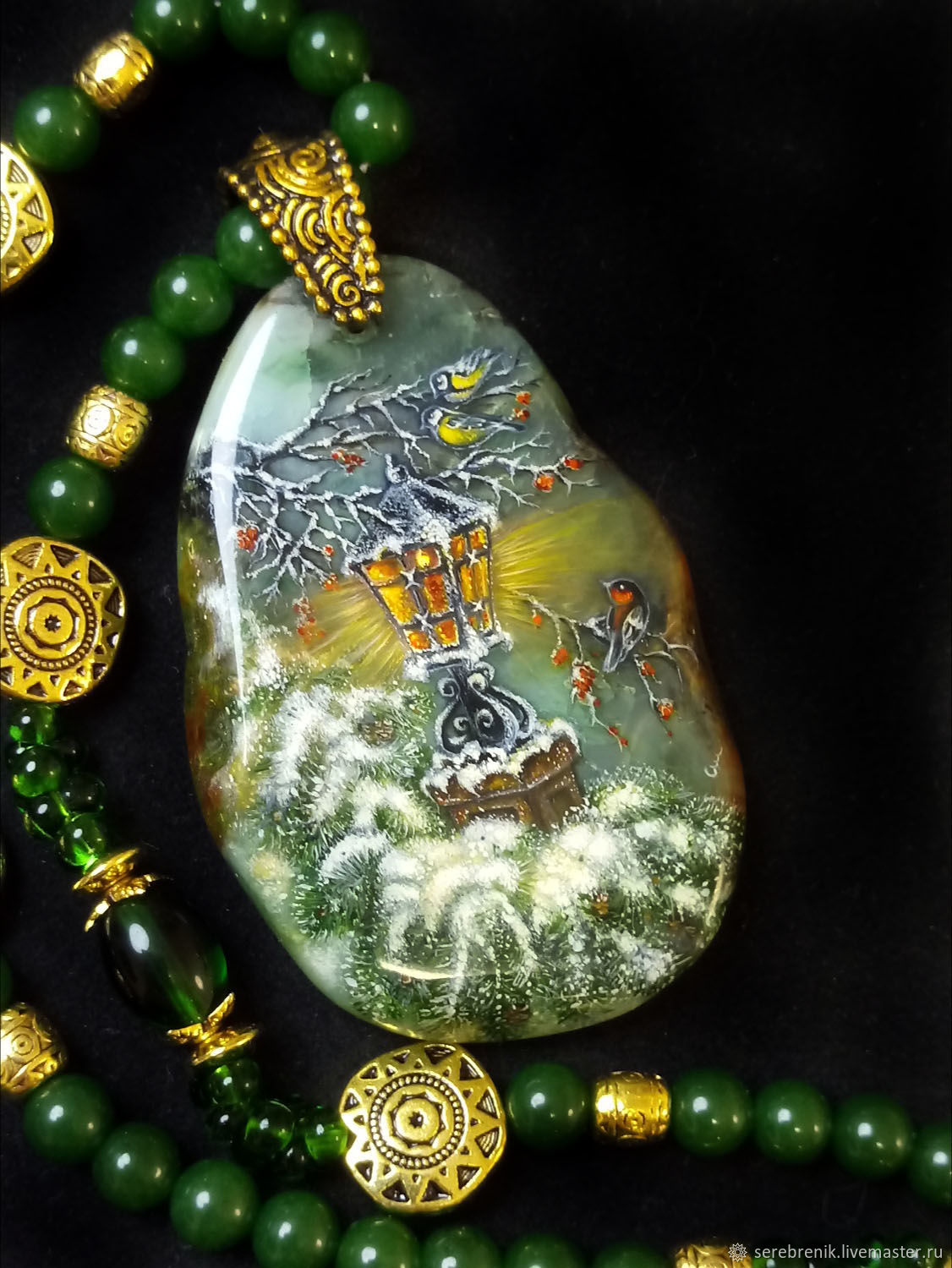 Winter's tale-painting on stone / winter pendant with painting, Pendant, Moscow,  Фото №1