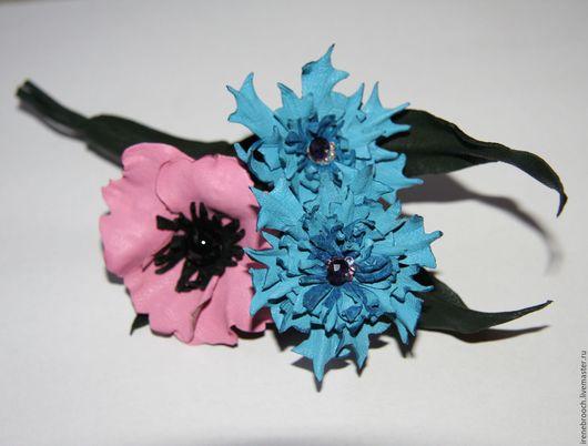 Броши ручной работы. Ярмарка Мастеров - ручная работа. Купить Украшение брошь из кожи Полевые цветы. Handmade. Синий