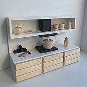 Мебель для кукол ручной работы. Ярмарка Мастеров - ручная работа Кукольная кухонная стенка. Handmade.