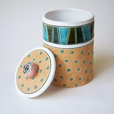 Посуда ручной работы. Ярмарка Мастеров - ручная работа Банки: с розочкой. Handmade.