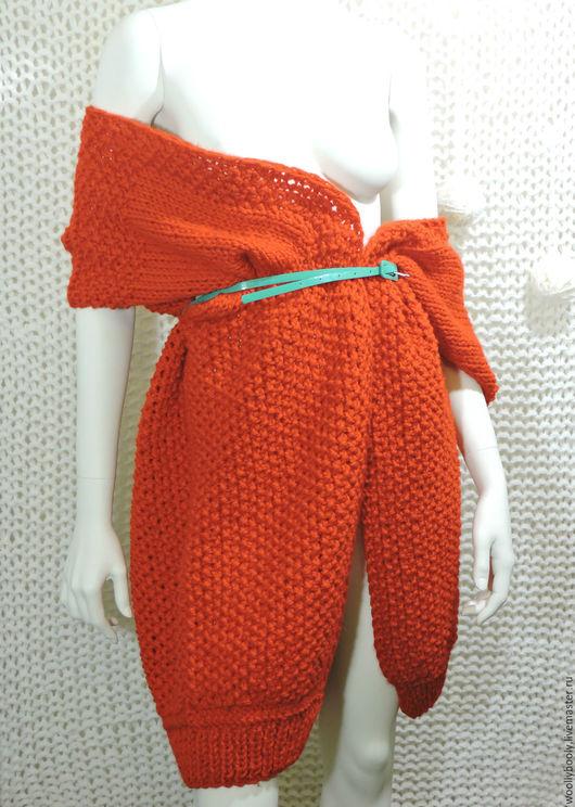 Верхняя одежда ручной работы. Ярмарка Мастеров - ручная работа. Купить Redd,  крупновязаный кардиган-кимоно яркого красного цвета. Handmade.