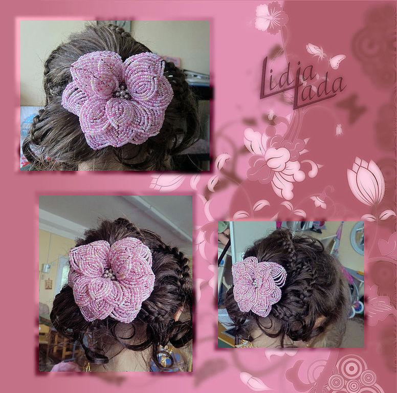 """Цветок для волос """"Кремово-розовая фантазия"""" / Квітка для волосся """"Кремово-рожева фантазія"""" / Hair Flower """"Creamy-pink fantasy"""""""