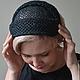 """Шляпы ручной работы. Маленькая соломенная шляпка-накладка """"Черная"""". Феева Евгения/шляпки (feevahat). Ярмарка Мастеров. Черная шляпа"""