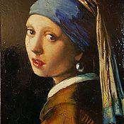 Картины и панно handmade. Livemaster - original item girl with a pearl earring. copy.. Handmade.