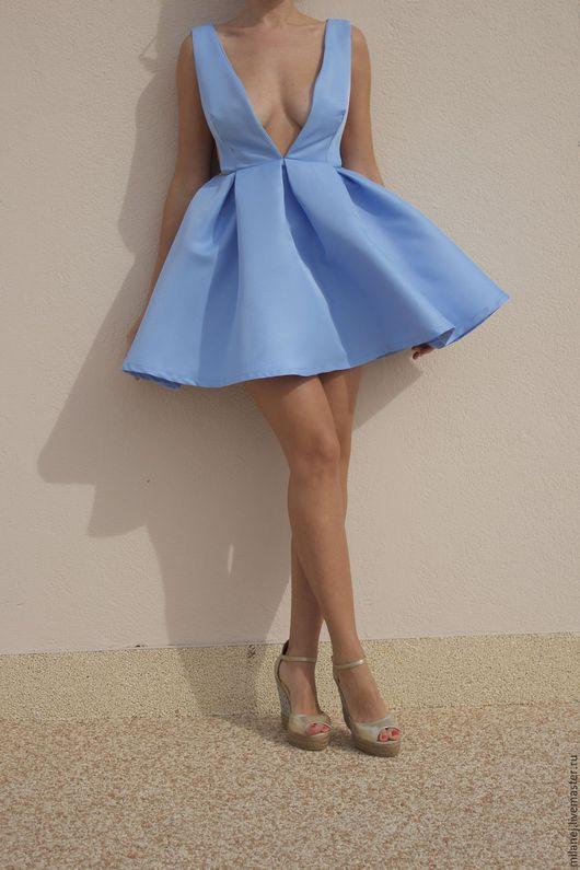 Платья ручной работы. Ярмарка Мастеров - ручная работа. Купить голубое платье колокольчик на молнии. Handmade. Голубой, платье на праздник
