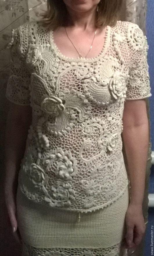"""Блузки ручной работы. Ярмарка Мастеров - ручная работа. Купить блуза """"очарование"""". Handmade. Ирландское кружево, молочный цвет"""