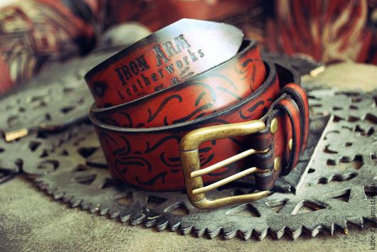 Пояса, ремни ручной работы. Ярмарка Мастеров - ручная работа. Купить Ремень из натуральной кожи Лозы. Handmade. Рыжий