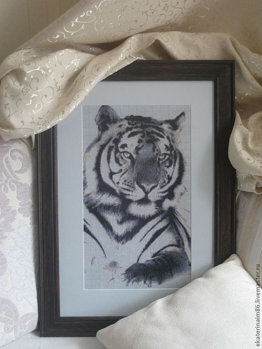 Животные ручной работы. Ярмарка Мастеров - ручная работа. Купить Тигр. Handmade. Чёрно-белый, канва, картина для интерьера