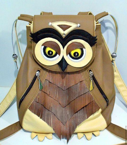 """Рюкзаки ручной работы. Ярмарка Мастеров - ручная работа. Купить """"Сова Инди"""" рюкзак из натуральной кожи. Handmade. Разноцветный, ванильный"""