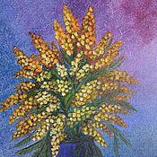"""Картины и панно ручной работы. Ярмарка Мастеров - ручная работа """"Букет мимозы"""" Картина маслом Цветы в вазе. Handmade."""