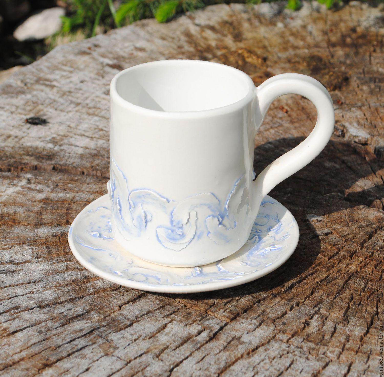 """Сервизы, чайные пары ручной работы. Ярмарка Мастеров - ручная работа. Купить Кофейная пара """"Метелица"""". Handmade. Голубой"""