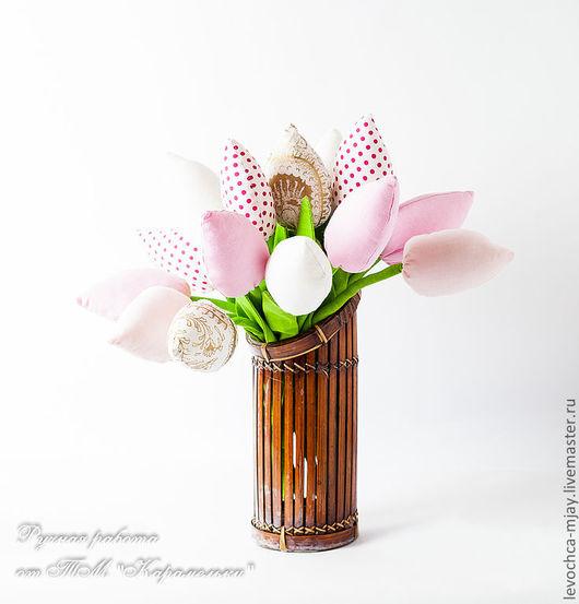Цветы ручной работы. Ярмарка Мастеров - ручная работа. Купить Тюльпаны. Handmade. Розовый, букет цветов, холлофайбер