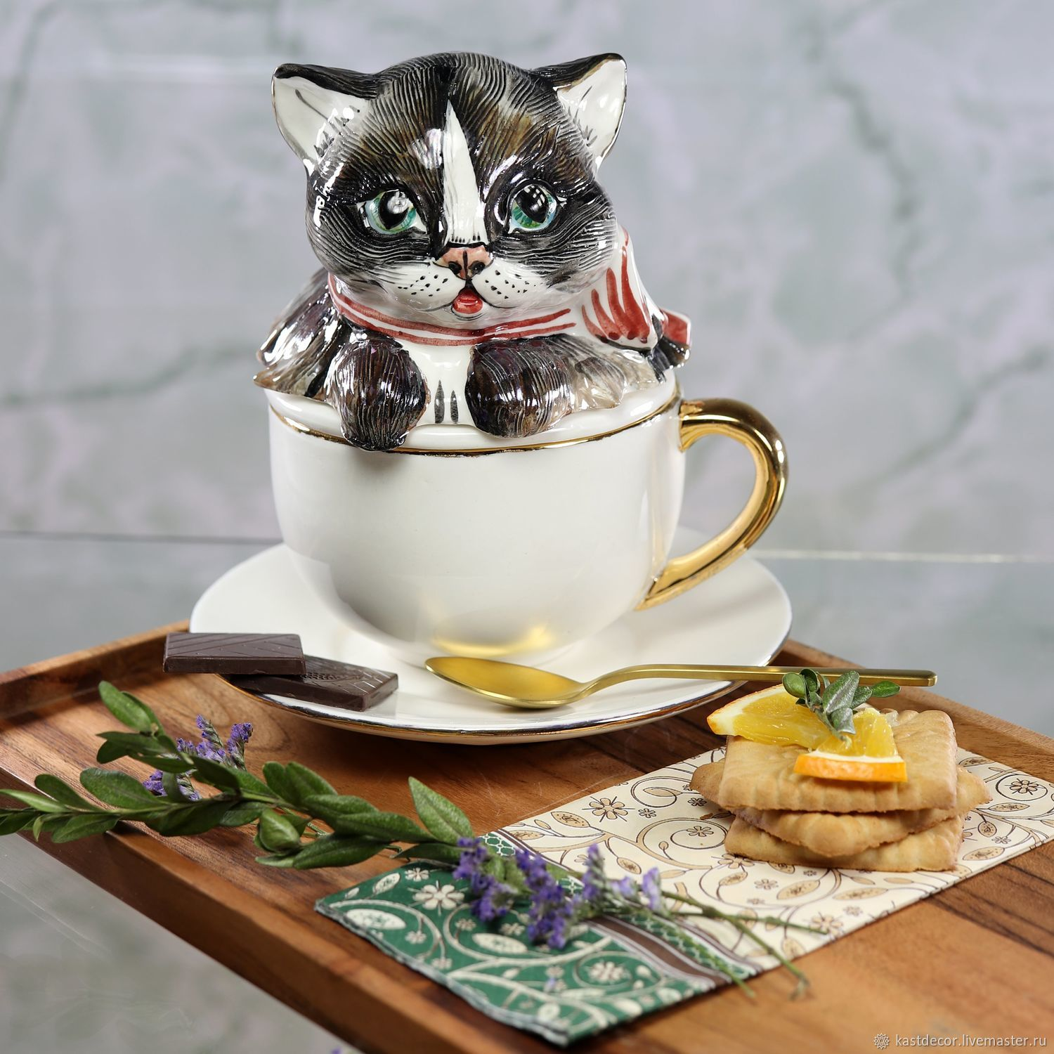 Infuser porcelain Cup with saucer 'Kitten in a Cup', Single Tea Sets, Moscow,  Фото №1