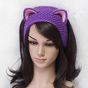 Аксессуары ручной работы. Ярмарка Мастеров - ручная работа Повязка на голову с ушками Кошка, вязаная для волос Фиолетовая. Handmade.