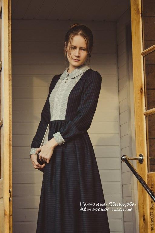 """Платья ручной работы. Ярмарка Мастеров - ручная работа. Купить Платье шерстяное """"Леди Энн"""". Handmade. Тёмно-синий"""