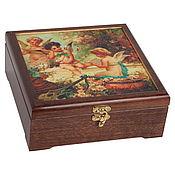 Подарки к праздникам handmade. Livemaster - original item Casket for romantics with canvas illustration 21 21 8 cm. Handmade.