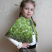 """Работы для детей, ручной работы. Ярмарка Мастеров - ручная работа Пелеринка для девочки """"Зелёное чудо"""" - в технике крейзи вул. Handmade."""