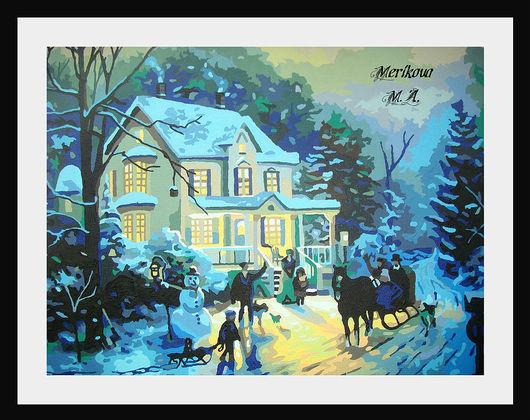 """Картина:""""Снежное рождество или в ожидании чуда"""" Картина выполнена на холсте акриловыми красками. Эта работа подарит ощущение праздника и наполнит Ваш дом уютом и теплотой."""