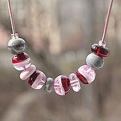 """Колье ручной работы. Ярмарка Мастеров - ручная работа Бусы """"Розовые леденцы"""". Handmade."""