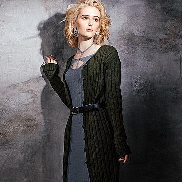 Одежда ручной работы. Ярмарка Мастеров - ручная работа Пальто вязаное цвета хаки. Handmade.