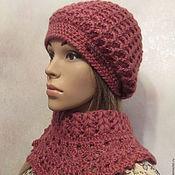 Аксессуары handmade. Livemaster - original item A set of warm - beret and shoulder pads.. Handmade.