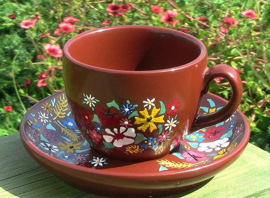 """Сервизы, чайные пары ручной работы. Ярмарка Мастеров - ручная работа. Купить Кофейная пара """"Ах, лето..."""". Handmade."""