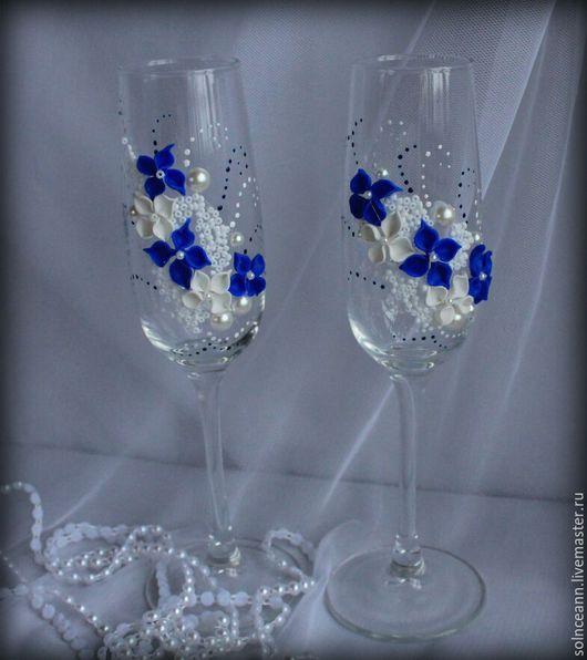 Свадебные аксессуары ручной работы. Ярмарка Мастеров - ручная работа. Купить свадебные бокалы. Handmade. Синий, бокалы ручной работы
