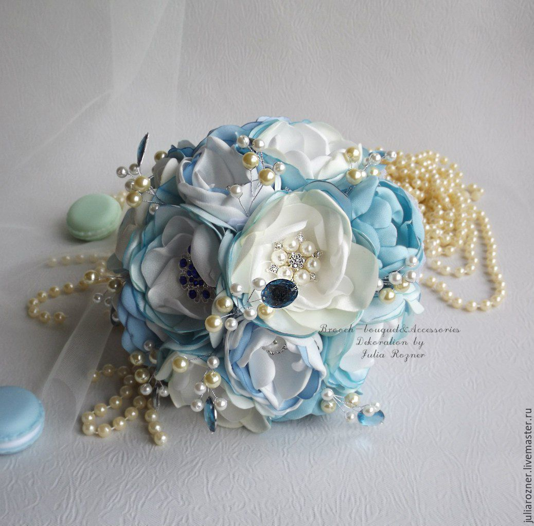 Blue brooch bouquet, Wedding bouquets, Moscow,  Фото №1