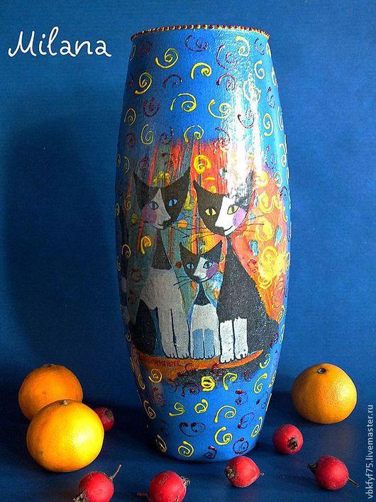 """Вазы ручной работы. Ярмарка Мастеров - ручная работа. Купить Ваза """"Кошки Розины"""" Вазы.Декупаж. Стеклянная ваза. Синяя ваза. Handmade."""