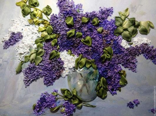 Картины цветов ручной работы. Ярмарка Мастеров - ручная работа. Купить Сирень в вазе. Handmade. Сиреневый, картина в гостиную