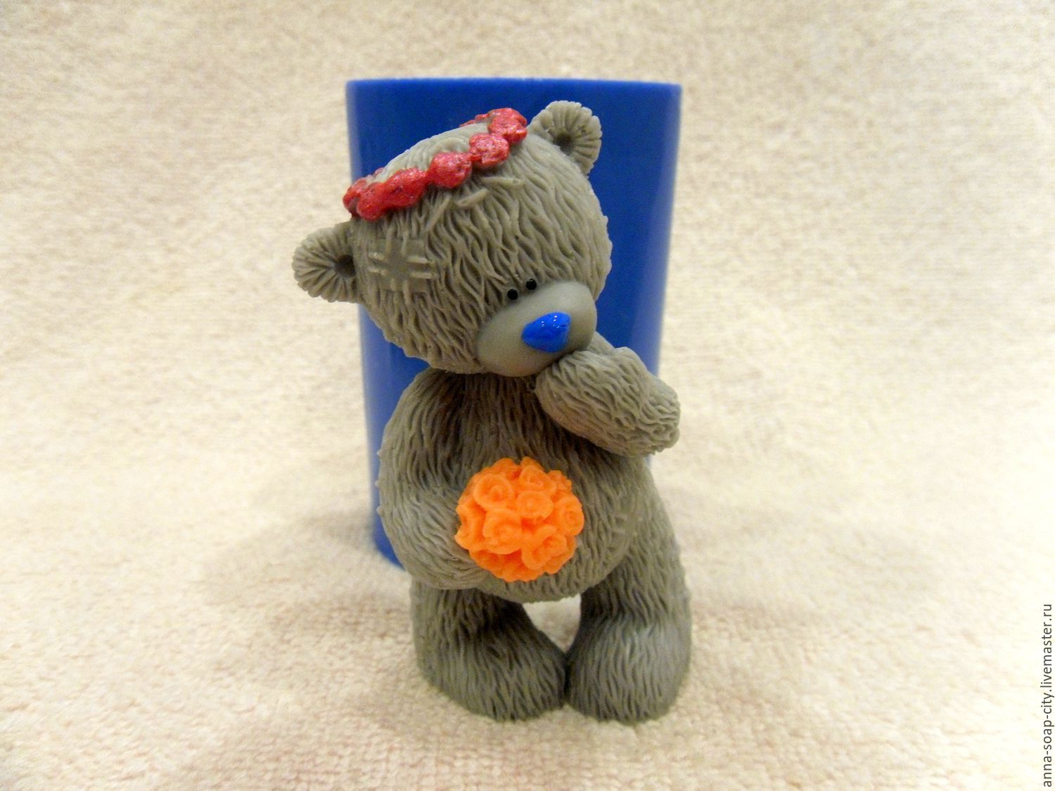 Silicone mold for soap 'Teddy Bear in wreath', Makeup tools, Arkhangelsk,  Фото №1