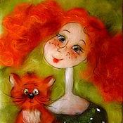 """Картины и панно ручной работы. Ярмарка Мастеров - ручная работа Картина из шерсти """" Рыжее счастье"""". Handmade."""