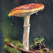 Картины и панно handmade. Livemaster - original item Mushroom and frog in the rain. Handmade.
