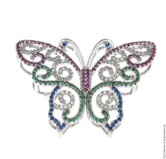 Коннектор Бабочка большая цветная серебро (Milano) Евгения (Lizzi-stones-2)