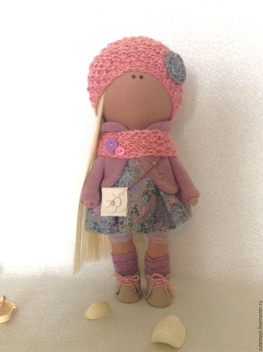 Коллекционные куклы ручной работы. Ярмарка Мастеров - ручная работа. Купить Интерьерная кукла в розовой шапочке. Handmade. Бледно-сиреневый