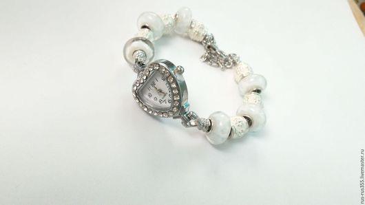 """Часы ручной работы. Ярмарка Мастеров - ручная работа. Купить Часы -браслет """"снег """". Handmade. Белый"""