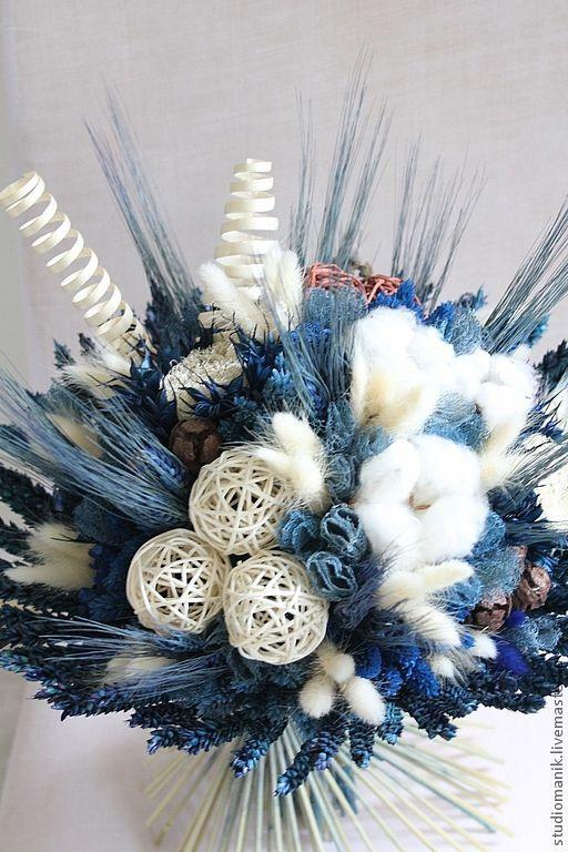 Интерьерные композиции ручной работы. Ярмарка Мастеров - ручная работа. Купить Букет их сухоцветов. Handmade. Букет, интерьерное украшение