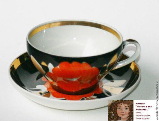 Винтажная посуда. Ярмарка Мастеров - ручная работа. Купить Чайная пара, Дулево. Handmade. Комбинированный, цветы, фарфор