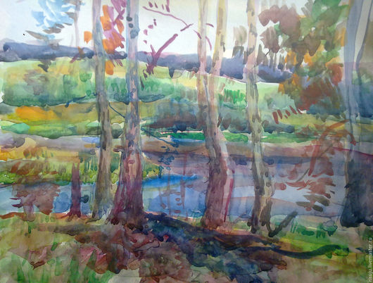 Пейзаж ручной работы. Ярмарка Мастеров - ручная работа. Купить Река. Handmade. Васильковый, река, озеро, речной пейзаж