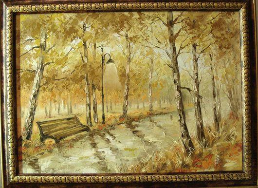 Пейзаж ручной работы. Ярмарка Мастеров - ручная работа. Купить Дождь в парке. Handmade. Бежевый, картина, картина в подарок