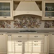 Дизайн и реклама handmade. Livemaster - original item Painted tiles for kitchen Apron in the style of Provence toile de Jouy. Handmade.