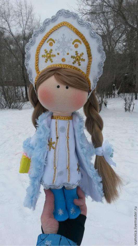 Куклы тыквоголовки ручной работы. Ярмарка Мастеров - ручная работа. Купить Интерьерная текстильная кукла Снегурочка. Handmade. Текстильная кукла