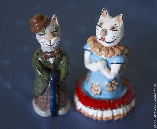 """Статуэтки ручной работы. Ярмарка Мастеров - ручная работа. Купить Статуэтки-свистульки """"Кот Чарли и кошка Афродита"""". Handmade. Кот"""