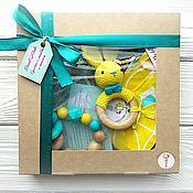 Куклы и игрушки handmade. Livemaster - original item Gift set for boy yellow-turquoise. Handmade.