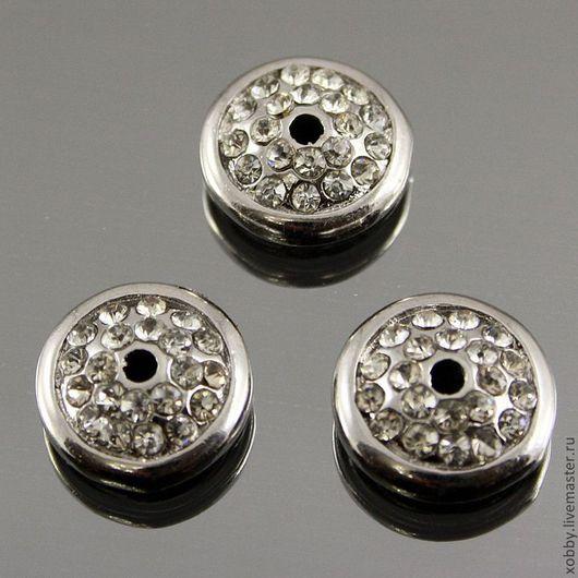 Шапочки для бусин диск усеянный стразами для сборки украшений цвета серебро Материал латунь Цвет покрытия серебро