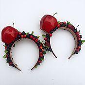 Украшения ручной работы. Ярмарка Мастеров - ручная работа Ободок с ягодами и яблоком. Handmade.