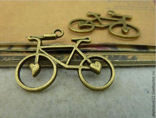 Для украшений ручной работы. Ярмарка Мастеров - ручная работа. Купить Велосипед с сердечками. Handmade. Бронза, подвеска металлическая