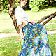 Skirts handmade. Long skirt Indigo. Jahlighta (Jahlighta). My Livemaster.Skirt with flounces, eastern cucumber