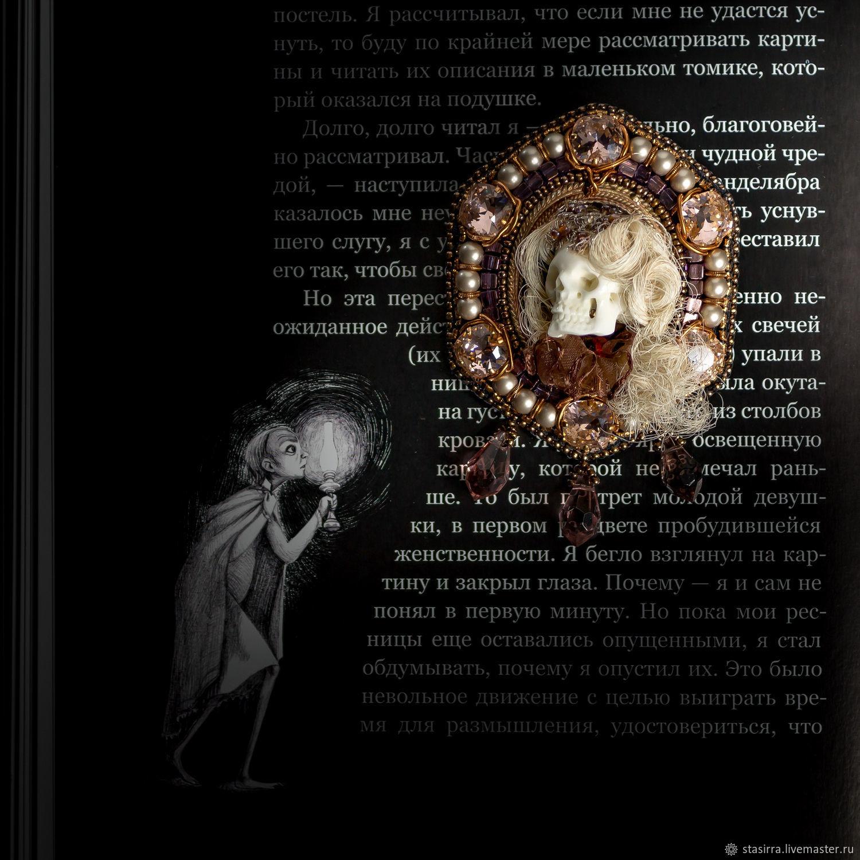 Овальный портрет. Брошь. Swarovski, череп, бисер, винтаж, Брошь-булавка, Чебоксары,  Фото №1