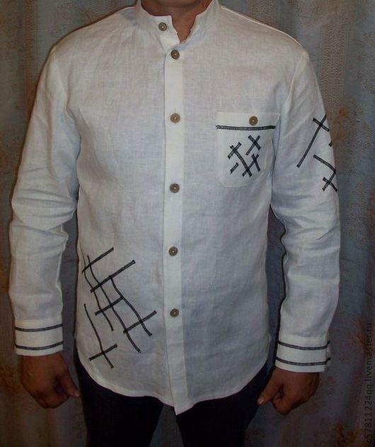 """Для мужчин, ручной работы. Ярмарка Мастеров - ручная работа. Купить Рубаха """" Городок"""". Handmade. Белый, мужская одежда"""